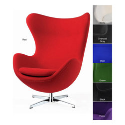None - Red Wool Egg Chair - This comfortable wool egg chair comes in stunning red. Featuring a classic design, this chair is made to surround your body and make you feel warm, while you lounge. To add comfort, the chair has a swivel base, adjusting to any position you want it.