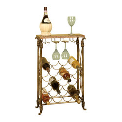 Welcome Home Accents - Metal & Black granite top wine rack - This elegant wine storage rack is great for wine tasting and  adding classic style to the home. The distressed copper finished highlights the decorative scrolled metalwork featured on this rectangular metal wine rack with glass holder. Features a black granite top with golden banding and ornate reeded legs. 4 hanging hooks to hold up to 8 glasses and rack space to hold 16 bottles. Assembly required. Wipe with a dry cloth.