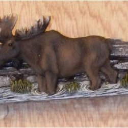 PS - 5 Inch Brown Moose on Birch Wood Strip Pull Handle (Drawers) - This gorgeous 5 Inch Brown Moose on Birch Wood Strip Pull Handle (Drawers) has the finest details and highest quality you will find anywhere! 5 Inch Brown Moose on Birch Wood Strip Pull Handle (Drawers) is truly remarkable.