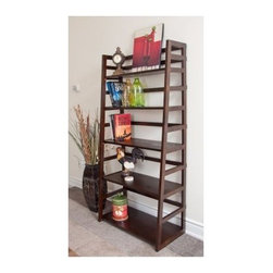 Simpli Home AXSS008KD Acadian Ladder Shelf - If you have a proud collection of books, collectables, or other display items, then the Simpli Home AXSS008KD Acadian Ladder Shelf is exactly what you need to keep them and your décor looking great. This beautiful piece is crafted from plantation-grown pine and given a dark tobacco finish. Its spacious shelves provide ample space for all your inspired accents and is the perfect way to create your own personal library.