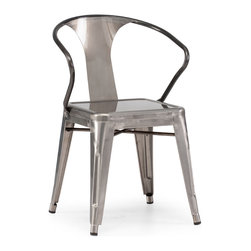 Zuo - Helix Dining Chair Sold as Set of 2, Gunmetal - The Helix Dining Chair is at once retro and modern.  It's bowed steel arms wrap it's guest in vintage charm, while it's galvanized steel finish can coordinate with the cleanest of contemporary interiors.  In a gunmetal finish, the Helix's smooth metal body and seat lend sleekness to the dining room; in rustic natural wood or antique black, the Helix adds warmth.  Pair this updated classic with any of our dining tables or your own for instant originality at mealtime. Sold as a set of two (package cannot be broken); price shown is for one.