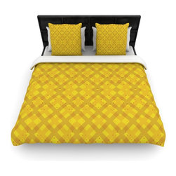 """Kess InHouse - Mydeas """"Dotted Plaid"""" Geometric Yellow Cotton Duvet Cover (Queen, 88"""" x 88"""") - Rest in comfort among this artistically inclined cotton blend duvet cover. This duvet cover is as light as a feather! You will be sure to be the envy of all of your guests with this aesthetically pleasing duvet. We highly recommend washing this as many times as you like as this material will not fade or lose comfort. Cotton blended, this duvet cover is not only beautiful and artistic but can be used year round with a duvet insert! Add our cotton shams to make your bed complete and looking stylish and artistic!"""