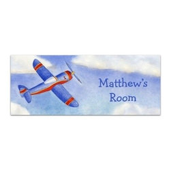 Baby Chick Designs - Airplane Personalized Room Sign and Door Sign - Airplane Personalized Room or Door Sign. Giclee canvas reproduction of an original watercolor. Add your child's name for free!