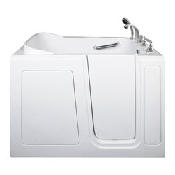 Creative Bathrooms - E-Series Soaking 48 in. x 30 in. Walk In Tub in White with Right Drain - The E-Series 48 in. x 30 in. (E3048) Soaking Walk In Tub is the most affordable walk in tub featuring an easy-to-clean high gloss triple gel coat tub shell for excellent color uniformity. Stainless steel frame with adjustable feet and has a 6.5 in. threshold for easy entry. ADA Compliant with components of 17 in. seat height, textured floor and a built-in grab bar. The E3048S soaking tub includes a five (5) piece roman faucet in chrome with hand held shower unit. The E-Series E3048 has soaking, air massage or dual massage options and right or left drain location. Size: 29 in. width x 48 in. length x 38 in. height. Limited Three (3) Year warranty on tub components. For more product information, please call 1.800.480.6850.