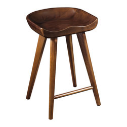 "LexMod - Stellar Wood Stool in Walnut - Stellar Wood Stool in Walnut - Capture timeless inspirations in the tranquil atmosphere of your kitchen or lounge area. Stellar is an elegant piece intended for everyday use and constructed of sturdy solid ash wood. With a minimalist style that enhances the keen design, Stellar depicts refinement in a simple way, while actualizing the not-so-simple aspect of us all. Comes complete with four foot caps and a footrest. Set Includes: One - Stellar Stool Solid Ash Wood, Plastic Foot Caps, Comes Fully-Assembled, Easy Wipe Clean Surface Overall Product Dimensions: 16""L x 17""W x 24.5""H Footrest Height: 5.5""H - Mid Century Modern Furniture."