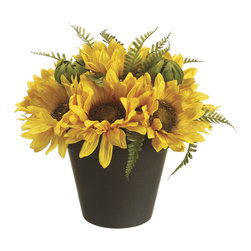 Allstate Floral & Craft - Tall Sunflower Potted Arrangement - This elegant arrangement will grace a table or mantel for months without a single bloom wilting. For a perennial burst of color that never needs watering, this exquisite piece is a decorator's dream.   8'' H Polyester / plastic Imported