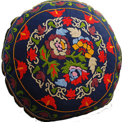 Modelli Creations - Navy Blue Bouqet Round Floor Pillow - Hand picked just for you: The beautiful blooms on this floor pillow are hand embroidered in brilliant, folk art colors. You'll use this comfy seating alternative for everything from movie watching to meditating.