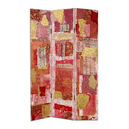 Oriental Furniture - 6 ft. Tall Avant-Garde Collage Canvas Room Divider - With unique shapes and vital colors, this image was reproduced from a remarkable exclusive art collage design. Elegant Gold, beautiful vermillion, intriguing flower prints and archaic Chinese characters combine to create an outstanding artistic decorative design. Printed on both sides of this sturdy, practical, folding privacy screen, great for dividing space or providing a distinctive home decor accent for any room.