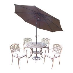 Oakland Living - 7-Pc Outdoor Dining Set in Antique Bronze Fin - Includes table, four stackable dining chairs with cushions, 9 ft. tilt crank umbrella with stand and metal hardware. Handcast. Umbrella hole table top. Fade, chip and crack resistant. Traditional lattice pattern and scroll work. Hardened powder coat. Rust free. Warranty: One year limited. Made from cast aluminum. Minimal assembly required. Table: 42 in. Dia. x 29 in. H (44 lbs.). Chair: 23 in. W x 22 in. D x 35.5 in. H (25 lbs.)The Oakland Mississippi Collection combines southern style and modern designs giving you a rich addition to any outdoor setting. This dining set is the prefect piece for any outdoor dinner setting. Just the right size for any backyard or patio.