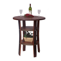 """2 Day - Napa Bistro Table - Features: -Bistro table. -Wine barrel oak, pine and steel construction. -Made from recently retired oak wine barrel staves. -Durable wrought iron supports. Specifications: -Made in USA. -Overall dimensions: 36"""" H x 30"""" W x 30"""" D."""