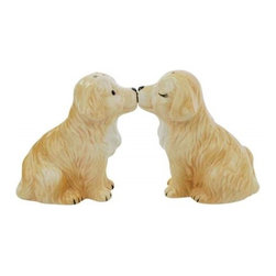 Westland - 3 Inch Golden Retriever Puppies Sharing a Kiss Salt and Pepper Shakers - This gorgeous 3 Inch Golden Retriever Puppies Sharing a Kiss Salt and Pepper Shakers has the finest details and highest quality you will find anywhere! 3 Inch Golden Retriever Puppies Sharing a Kiss Salt and Pepper Shakers is truly remarkable.
