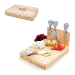 Picnic Time - San Francisco 49Ers Asiago Folding Cutting Board With Tools in Natural Wood - The Asiago is a folding cutting board with tools that is another Picnic Time original design. This compact, fully-contained split-level cutting board is made of eco-friendly rubberwood. Lift up the top level of the board to reveal four brushed stainless steel cheese tools: a pointed-tipped cheese knife, cheese fork, cheese chisel knife, and blunt nosed hard cheese knife. The tools are magnetically secured to a wooden strip that lifts up so you can close the cutting board and display the tools. Designed with convenience in mind, the Asiago is great for home or anywhere the party takes you.; Decoration: Engraved; Includes: 4 brushed stainless steel cheese tools (1 pointed-tipped hard cheese knife, cheese fork, cheese chisel knife, and blunt nosed soft cheese knife
