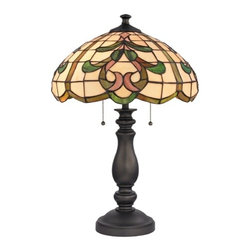 Design Classics Lighting - Table Lamp with Multi-Color Glass in Tiffany Bronze Finish - 1622 TB - Tiffany bronze 2-light table lamp. Takes (2) 100-watt incandescent A19 bulb(s). Bulb(s) sold separately. UL listed. Dry location rated.