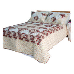 Blancho Bedding - [Fantasy Flowers] Cotton 3PC Vermicelli-Quilted Patchwork Quilt Set (King Size) - The [Fantasy Flowers] Quilt Set (King Size) includes a quilt and two quilted shams. This pretty quilt set is handmade and some quilting may be slightly curved. The pretty handmade quilt set make a stunning and warm gift for you and a loved one! For convenience, all bedding components are machine washable on cold in the gentle cycle and can be dried on low heat and will last for years. Intricate vermicelli quilting provides a rich surface texture. This vermicelli-quilted quilt set will refresh your bedroom decor instantly, create a cozy and inviting atmosphere and is sure to transform the look of your bedroom or guest room. (Dimensions: King quilt: 92.9 inches x 103 inches Standard sham: 24 inches x 33.8 inches)