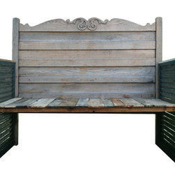 Upcycled Headboard Garden Bench - What do you get when you combine vintage shutters and a vintage oak headboard-well a garden bench of course! This bench is whimsical yet sturdy and will last for many years on your porch, sitting in the garden or even inside your entryway.