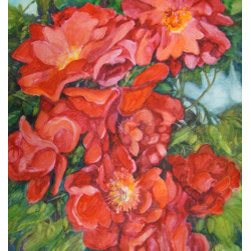 Abundance (Original) by Sandy Bennett - Red knockout roses in the garden - they are hardy and prolific. Can't be beat for a terrible gardener like me. This piece would be quite the WOW when matted and framed under glass.