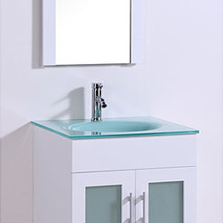 Tempered Glass Top 24-inch Single Sink Bathroom Vanity with Mirror -