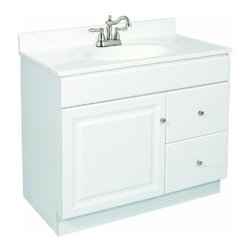 DHI-Corp - Wyndham White Semi-Gloss Vanity Cabinet with 2-Door and 2-Drawers - The Design House 531806 Wyndham White Semi-Gloss Vanity Cabinet features a durable white semi-gloss finish and satin nickel finished hardware. Perfect for an elegant country style home, this vanity has clean lines and concealed hinges. The 1-door, 2-drawer construction gives you plenty of storage for toiletries to keep your countertop free of clutter. The door and drawers open with a fluid motion, do not whine or creak and can endure moderate stress. Measuring 36-inches by 18-inches by 31.5-inches, this vanity can fit into a small to medium sized bathroom. The frameless design provides ample storage and accessibility to store toiletries for the entire family. Traditional construction meshes with subtle modern details to quickly brighten up your bathroom. This product is perfect for remodeling your bathroom and matches granite countertops and colored walls. Vanity top is not included with this product. The Design House 531806 Wyndham White Semi-Gloss Vanity Cabinet has a 1-year limited warranty that protects against defects in materials and workmanship. Design House offers products in multiple home decor categories including lighting, ceiling fans, hardware and plumbing products. With years of hands-on experience, Design House understands every aspect of the home decor industry, and devotes itself to providing quality products across the home decor spectrum. Providing value to their customers, Design House uses industry leading merchandising solutions and innovative programs. Design House is committed to providing high quality products for your home improvement projects.