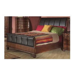 Alpine Furniture - Lafayette Upholstered Sleigh Bed - Requires box spring. Bicast headboard and footboard. Six months warranty. Made from poplar solids with mahogany veneer. Brown cherry finish. Queen height: 56 in. H