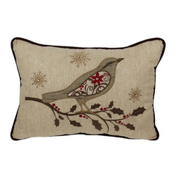 Xia Home Fashions - Bird On Twig Emboridery Pillow With Polyester Filled, 13x18 - A beautiful embroidered Christmas bird with jeweled accents perches on a holly branch in this charming and magical holiday linens collection! Handwash cold water, no bleach, lay flat to dry. Light iron as needed.
