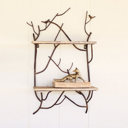 A Little Birdie Iron & Wood Shelves - It can't get sweeter than this. Two wooden shelves are bound together by iron branches, forming a beautiful display of the outdoors. Stack towels, books, kitchen tools, or any treasured item you want to display. Small birds perched on the branches add a cute touch.