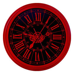 """WCD - Red Gears Clcock, 24"""" - This fire engine vintage red clock is a stunning show piece"""