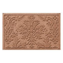 Bungalow Flooring - Aqua Shield 2'x3' Damask Mat, Medium Brown - Premium 24-oz. anti-static polypropylene mat traps dirt, water and mud.