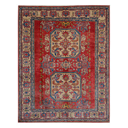"""ALRUG - Handmade Red/Rust Oriental Kazak Rug 7' 1"""" x 9' (ft) - This Afghan Kazak design rug is hand-knotted with Wool on Cotton."""