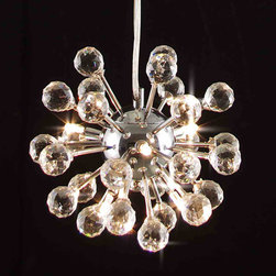 Gallery - Gallery Modern Crystal 6-light Fixture Chandelier - Give any space a modern update with this six-light crystal chandelier. With 100 percent crystal balls that capture and reflect the light,this chandelier has a chrome center and a contemporary style that will become the centerpiece of your room.