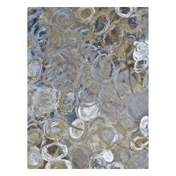 Abstract Gold Painting, Circles of Circles, Right, Right - Quality Giclee painting on canvas. Abstract of an elegant field of layered golden and silver circles.
