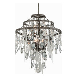 Chandelier Fixtures as Art - Looking for something fun? This Bistro chandelier blends classic hand-worked iron, elegant crystal and utilitarian items like spoons, forks, and knives!