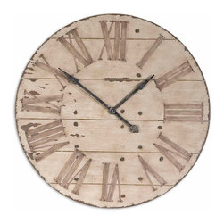 "Uttermost - Harrington 36"" Wooden Wall Clock - Features an antiqued ivory face with gentle distressing around the outer rim and dark chestnut undertones. Requires 1-AA battery."