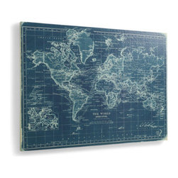 Grandin Road - Bluee World Map - Brilliant blue, more than 4 ft. wide, and depicts an antique map. So impressively detailed, it even includes steamboat routes, ocean currents, and underwater telegraph lines. Precision giclée printing on canvas over a solid wood frame. Hand-applied matte finish. Arrives ready to hang. Monumentally scaled and visually striking, our Azure World Map Artwork makes a design impact of global proportions.  .  . Precision giclee printing on canvas over a solid wood frame .  .  .