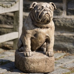 Campania International Petey The Bulldog Cast Stone Garden Statue - About Campania InternationalEstablished in 1984, Campania International's reputation has been built on quality original products and service. Originally selling terra cotta planters, Campania soon began to research and develop the design and manufacture of cast stone garden planters and ornaments. Campania is also an importer and wholesaler of garden products, including polyethylene, terra cotta, glazed pottery, cast iron, and fiberglass planters as well as classic garden structures, fountains, and cast resin statuary.Campania Cast Stone: The ProcessThe creation of Campania's cast stone pieces begins and ends by hand. From the creation of an original design, making of a mold, pouring the cast stone, application of the patina to the final packing of an order, the process is both technical and artistic. As many as 30 pairs of hands are involved in the creation of each Campania piece in a labor intensive 15 step process.The process begins either with the creation of an original copyrighted design by Campania's artisans or an antique original. Antique originals will often require some restoration work, which is also done in-house by expert craftsmen. Campania's mold making department will then begin a multi-step process to create a production mold which will properly replicate the detail and texture of the original piece. Depending on its size and complexity, a mold can take as long as three months to complete. Campania creates in excess of 700 molds per year.After a mold is completed, it is moved to the production area where a team individually hand pours the liquid cast stone mixture into the mold and employs special techniques to remove air bubbles. Campania carefully monitors the PSI of every piece. PSI (pounds per square inch) measures the strength of every piece to ensure durability. The PSI of Campania pieces is currently engineered at approximately 7500 for optimum strength. Each piece is air-dried and then de-molded by hand. After an internal quality check, pieces are sent to a finishing department where seams are ground and any air holes caused by the pouring process are filled and smoothed. Pieces are then placed on a pallet for stocking in the warehouse.All Campania pieces are produced and stocked in natural cast stone. When a customer's order is placed, pieces are pulled and unless a piece is requested in natural cast stone, it is finished in a unique patinas. All patinas are applied by hand in a multi-step process; some patinas require three separate color applications. A finisher's skill in applying the patina and wiping away any excess to highlight detail requires not only technical skill, but also true artistic sensibility. Every Campania piece becomes a unique and original work of garden art as a result.After the patina is dry, the piece is then quality inspected. All pieces of a customer's order are batched and checked for completeness. A two-person packing team will then pack the order by hand into gaylord boxes on pallets. The packing material used is excelsior, a natural wood product that has no chemical additives and may be recycled as display material, repacking customer orders, mulch,or even bedding for animals. This exhaustive process ensures that Campania will remain a popular and beloved choice when it comes to garden decor.Please note this product does not ship to Pennsylvania.