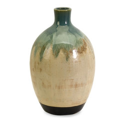 Blue Drip Small Vase - *An unusual shape and distinctive finish give this ceramic vase a one-of-a-kind, artisan look.
