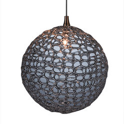Shakuff - Mod Glass Pendant Light - The subtle dancing lights of this exotic orb will cast an air of mystery in any room. Each pendant is delicately crafted from handblown glass and varies in size, shape, color and texture. Your room will really sparkle!