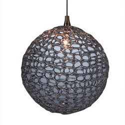 Shakuff - Mod Glass Pendant Light, Translucent Grey - The subtle dancing lights of this exotic orb will cast an air of mystery in any room. Each pendant is delicately crafted from handblown glass and varies in size, shape, color and texture. Your room will really sparkle!