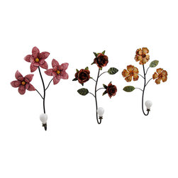 Zeckos - Set of 3 Decorative Flower Metal Wall Hook Hangings - Create a decorative accent on the wall of your entryway, dining room, kitchen, bedroom or bathroom with this set of 3 flower inspired wall hooks. Each artfully sculpted metal wall hook measures approximately 10.75 inches high, 8 inches wide and 2.25 inches deep (27 X 30 X 6 cm) with a white cast resin knob for hanging towels, jackets, greenery or other decorative items. Featured in a glossy enamel finish in orange, red and pink, this set of 3 floral wall hooks makes a wonderful housewarming gift sure to be enjoyed