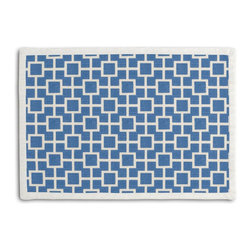 Bright Blue Square Trellis Tailored Placemat Set - Class up your table's act with a set of Tailored Placemats finished with a contemporary contrast border. So pretty you'll want to leave them out well beyond dinner time! We love it in this modern electric blue geometric trellis on white lightweight linen. who knew being hip could be so square?