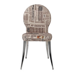 Farid Side Chair (Set Of 2)-News - Printed newspaper fabric seat and back Chromed steel baseFully assembledMore colorsSeat height 18""