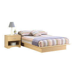 South Shore - South Shore Copley Wood Storage Platform Bed and Nightstand Set - South Shore - Bedroom Sets - 30132173113062PKG - South Shore Copley Wood Storage Platform Bed and Nightstand Set