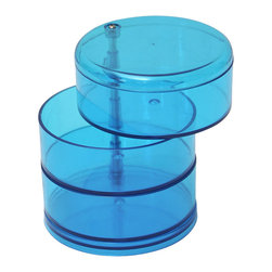 Jewelry Storage Swivel 3-Tier Eve Ps Blue - This 3-tier jewelry swivel storage Eve for bathrooms is made of durable polystyrene and is the stylish solution for storing and organizing jewelry and other small loose items. Features three roomy swivel drawers to store rings, earrings, necklaces, bracelets and more. Diameter of 5.43-Inch and a height of 9.33-Inch. Wipe clean with soapy water. Color blue. Accessorize your bathroom and neatly organize your jewelry with this jewelry storage! Complete your Eve decoration with other products of the same collection. Imported.