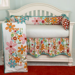 Cotton Tale Designs - Lizzie 4 Piece Crib Bedding Set - A quality baby bedding set is essential in making your nursery warm and inviting. Cotton Tale uses quality materials and unique designs to create your perfect nursery. The Lizzie four piece set has lots of color in a bright cotton motif. Large appliqued daisies on a patchwork of big dot red, small red dot and a fancy contemporary floral. Accents in bright turquoise four sectioned bumper, patch worked front and back with large floral applique. Sculptured dust ruffle with turquoise trim. Soft dot sheet 100%, 200 thread count cotton. Wash gentle cycle, separate, cold water. Tumble dry low or hang dry. This collection is perfect for your little girl.