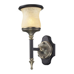 Elk Lighting - Elk Lighting 2420/1 1 Light Wall Bracket in Antique Bronze & Dark Umber & Marbli - 1 Light Wall Bracket in Antique Bronze & Dark Umber & Marblized Amber Glass belongs to Georgian Court Collection by Elk Lighting During The Mid-Eighteenth Century, The Georgian Style Became Immensely Popular, Not Only In England, But Also In Colonial America. The ��_��_��_��_��_Colonial��_��_��_��_��_ Home Was Influenced By The Georgian Style, Characterized By A Sense Of Proportion, Balance, And Carefully Thought Out Details. Furniture And Objects Of The Time Were Of A Larger ScalePatio & Garden/Patio Furniture/Patio & Pool Seating/Patio Rocking Chairs@Patio & Garden/Patio Furniture/Patio & Pool Seating/Porch SwingsBPatio & Garden/Patio Furniture/Patio & Pool Seating/Rattan Seating@Patio & Garden/Patio Furniture/Patio & Pool Seating/Teak SeatingBPatio & Garden/Patio Furniture/Patio & Pool Seating/Wicker Seating0Patio & Garden/Patio Furniture/Patio Dining Sets6Patio & Garden/Patio Fu Sconce (1)