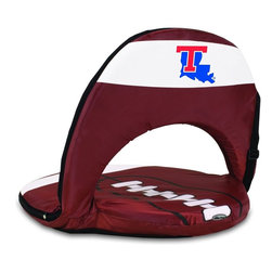 Picnic Time - Louisiana Tech Oniva Seat Sport Recreational Reclining Seat - Football fans will love this recreational reclining seat that's so lightweight and portable. The Oniva Seat Sport has an adjustable shoulder strap and six adjustable positions for reclining. The seat cover is made of brown polyester and has been designed so that the entire seat looks like a larger than life football! The bottom of the seat is black dimpled PVC so as not to soil easily, the frame is steel, and the seat is cushioned with high-density PU foam, which provides hours of comfortable sitting. The Oniva Sport - Football is great for the beach, the park, or as an indoor gaming seat and makes the perfect gift for fans of the great sport Americans call football!; College Name: Louisiana Tech; Mascot: Bulldogs; Decoration: Digital Print
