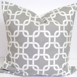 Gray Pillow Cover by Elemen O Pillows - I love this white geometric pattern on soft gray. It's exactly my style.