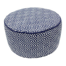 Nuloom - nuLOOM Handmade Casual Living Indian Diamond Navy Round Pouf - Enhance your decor with this stylish modern pouf made of this soft felt.