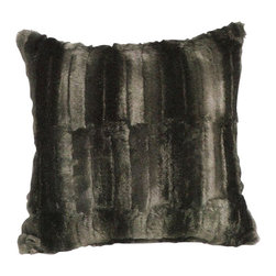 "Canaan - Faux-Fur Black Beaver Throw Pillow - Faux fur black beaver 20"" x 20"" throw pillow. Measures 20"" x 20"" made with a blown in foam. These are custom made in the U.S.A and take 4-6 weeks lead time for production."