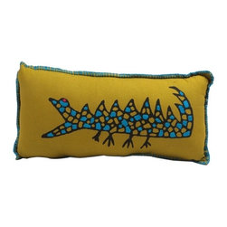 Sitara Collections - Stuffed Baby Pillow - Croc Print - A Playful Baby Croc, inspired by Children's Drawings, Turns an ordinary Pillow into a Statement Piece. the Pillow Starts with Cottom Hand-Block Print Fabric and is then Embellished with Hand Embroidery. the Ideal Way to Pull a Room together or add a Splash of Quirky Color. Material: Cottom Fabric, Poly Cottom Dimensioms: 6 inches High X 12 inches Wide Hand-Embroidered.
