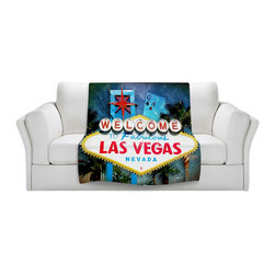 DiaNoche Designs - Throw Blanket Fleece - Corina Bakke Vegas Sign Blue - Original Artwork printed to an ultra soft fleece Blanket for a unique look and feel of your living room couch or bedroom space.  DiaNoche Designs uses images from artists all over the world to create Illuminated art, Canvas Art, Sheets, Pillows, Duvets, Blankets and many other items that you can print to.  Every purchase supports an artist!